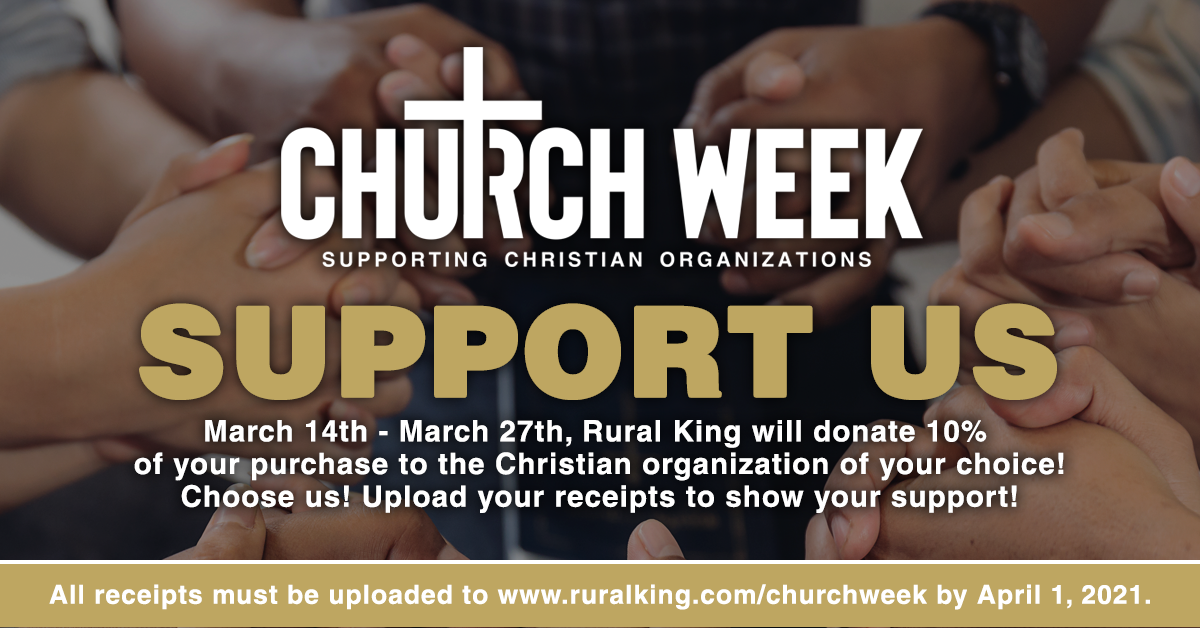Rural King will donate 10% of your purchases between March 14-27